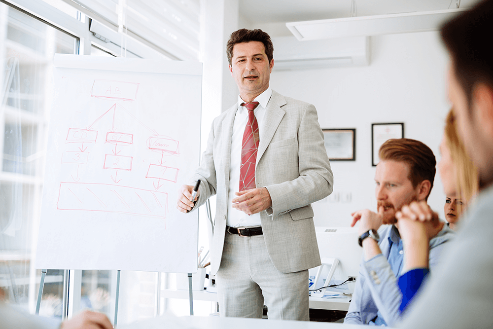 a business coach explaining the benefits of executive training to a company